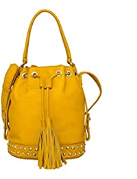 Navshi Solid Yellow Pure Leather Sling Bag For Women