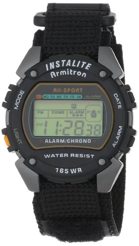 Armitron Sport Men's 406623 Round Gray and Black Digital Watch with Nylon Band