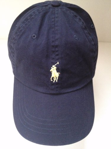 Polo Ralph Lauren Navy Blau Herren/Damen Cap Hat mit Gelb Pony Logo/verstellbar (Verstellbar Navy Cap)
