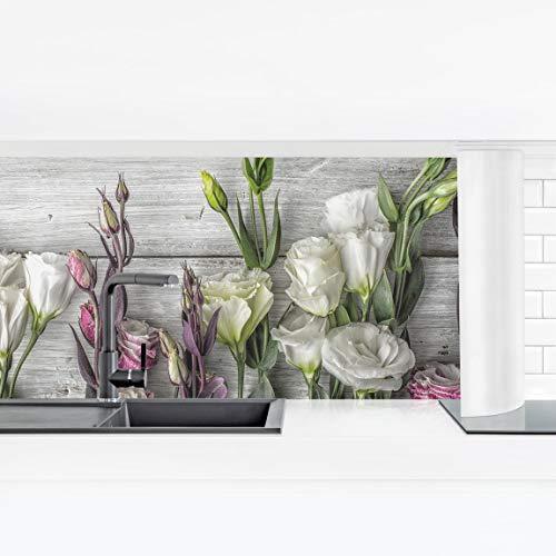 Bilderwelten Küchenrückwand Panorama Folie - Tulpen-Rose Shabby Holzoptik Smart 40 x 140 cm