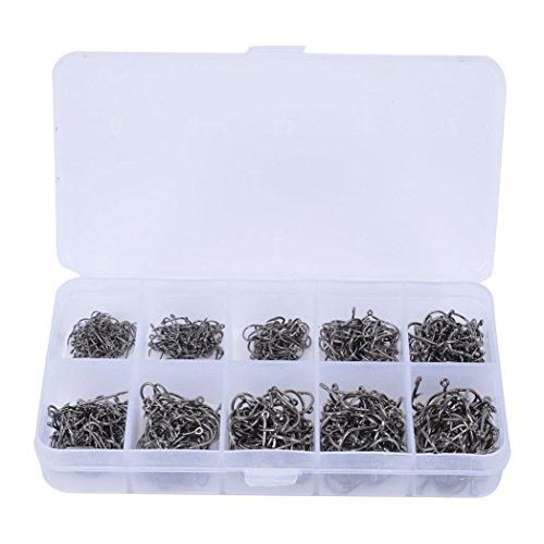 TOOGOO(R) 500pcs Fisch Jig Haken mit Loch Fishing Tackle Box 3 # -12 # 10 Groessen Carbon Steel(grau-schwarz) (Fliegenfischen Haken Größen)
