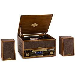 AUNA Belle Epoque 1910 Chaîne stéréo rétro avec Platine Vinyle - Bluetooth, Lecteur CD, Tuner FM, USB, Fonction Enregistrement, 2 x 5W RMS Enceintes, Marron