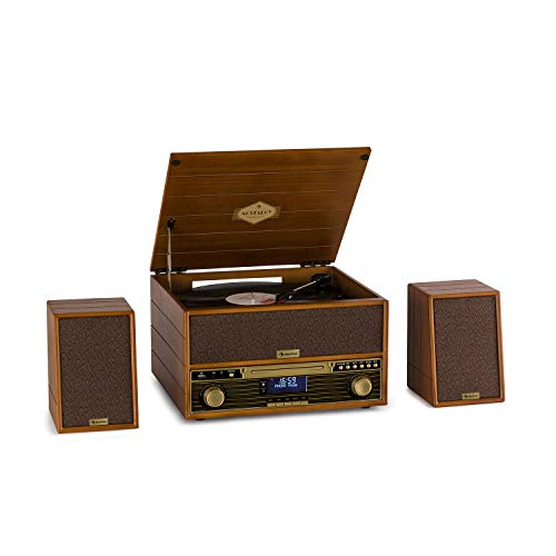 auna Belle Epoque 1910 Retro-Stereoanlage mit Plattenspieler • Bluetooth • CD-Player • UKW-Tuner • USB • Aufnahmefunktion • inkl. 2 x 5 W RMS Lautsprecher • braun - Plattenspieler Radio Mp3 Cd