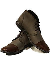 d4234e29960cc7 PeppeShoes Modello Boris - Handgemachtes Italienisch Leder Herren Grau  Stiefeletten Chukka Stiefel - Rindsleder…