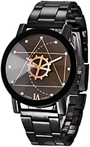Skylofts Black Dial Stainless Steel Chrome Plated Mens Watch & Women Watches (Men'
