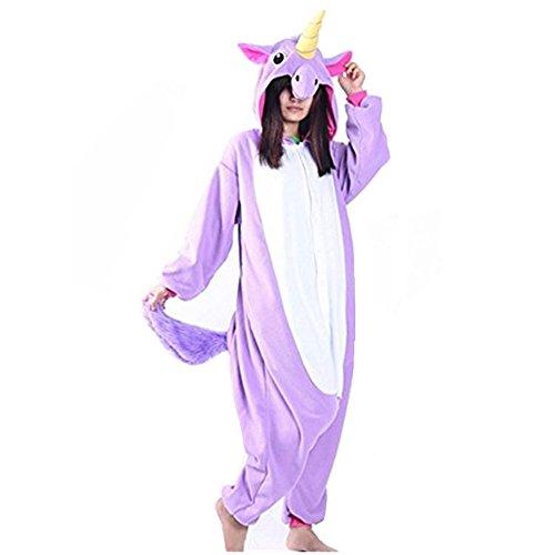 Unicsex Süß Einhorn Overall Pyjama Jumpsuit Kostüme Schlafanzug Für Kinder / Erwachsene (L, Lila)
