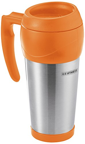 Leifheit 25784 7073-Taza-termo, Capacidad de 500 ml, Color, Acero Inoxidable, Naranja Atardecer, 9.5