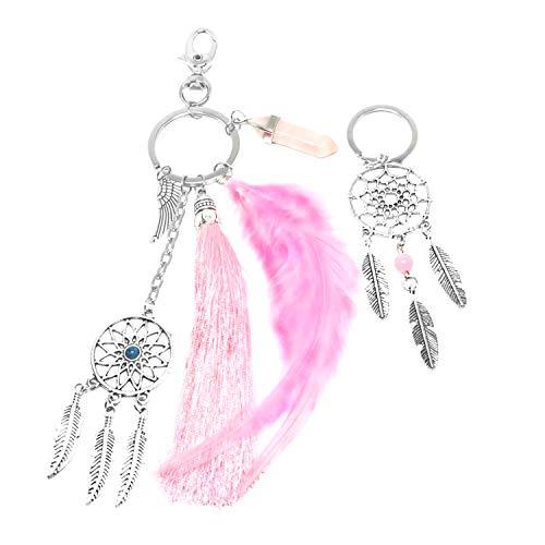 PPX 2 Piezas Atrapasueños Borla Llavero Turquesa Ornamentos para el Coche Girls Bag Accessories Bohemian Style Keychain,con Caja