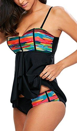 EmilyLe Mujeres Traje de baño de 2 Piezas Colorido Beachwear Plus Size Tankini Top con Pantalones Cortos (EU 42-44 (2XL)