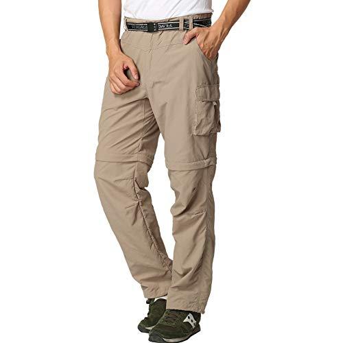 FLYGAGA Herren Outdoorhose Wanderhose Zip Off Hose Shorts Sommer mit Gürtel Leichte Schnelltrocknend Atmungsaktiv FunktionshoseTrekkinghose (Khaki, XL)