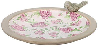 Esschert Design RD09 33.4 x 33.4 x 9cm Ceramic Rose Print Bird Bath from Esschert