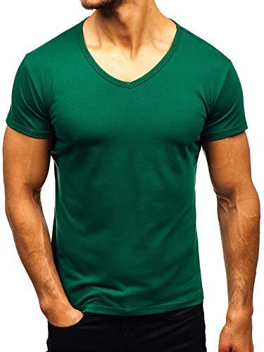 Cooles Grünes T-shirt (BOLF Herren T-Shirt Kurzarm V-Ausschnitt V-Neck Basic Unifarben Figurbetont Sport Style STEGOL AK888A Grün (Dunkel) L [3C3])