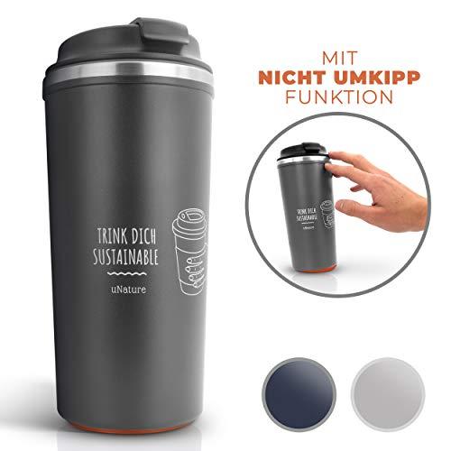 uNature Premium Trinkbecher mit Nicht UMKIPP Funktion| Tee & Kaffee zum mitnehmen| 500ml Getränkebecher Kaffeebecher mit Deckel - Doppelwandig nachhaltiger Kaffee to Go Becher Grau