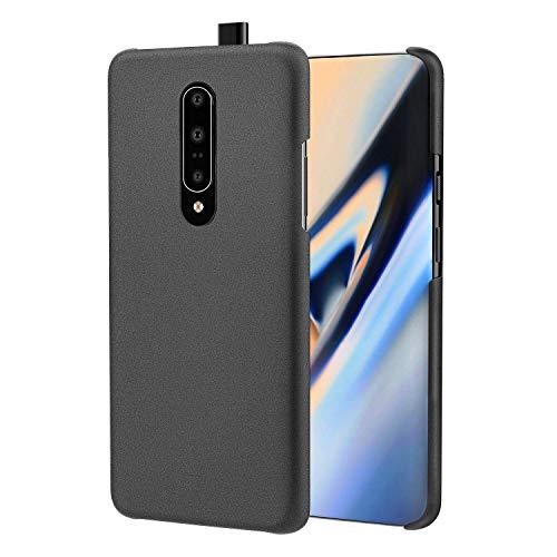 MoKo Handyhülle Kompatibel mit Oneplus 7 Pro, leicht, dünn, stoßfest, robustes PC-Material, Sandstein-Oberfläche, Schwarz
