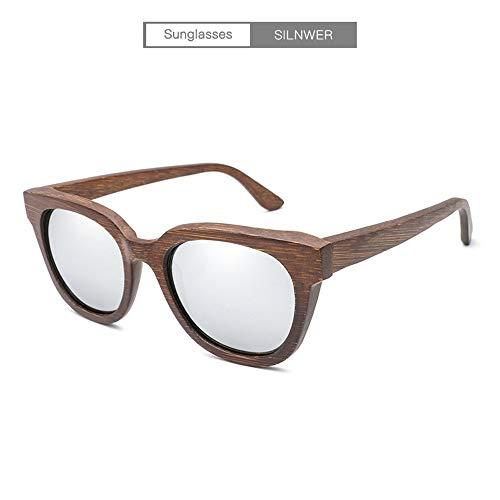 JIA-Sunglass Schattierung Handgemachte Bambus New Classic Vintage Retro Holz Sonnenbrille Alle Bambus Farbe Spiegel Film Polarisierte Sonnenbrille for Männer Frauen Unisex (Color : Silver)