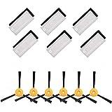 Amoy Juego de Accesorios de Repuesto,6 * Cepillo Lateral + 6 * Filtro HEPA + 6 * Esponja,Compatible Ecovacs Deebot 600/601/605 aspiradora