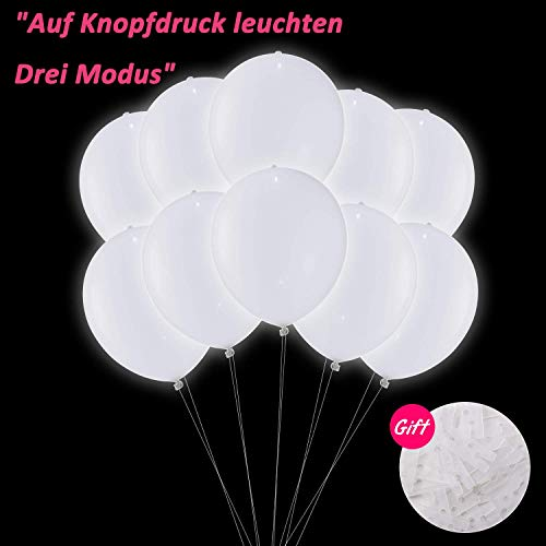 �e, LED Leuchten Ballon Luftballons Hochzeit Weiss, Luftballons Geburtstag 30 Stück für Weihnachten Fasching Valentinstag Party Deko TECHSHARE (LED-Ballon mit Schalter) ()