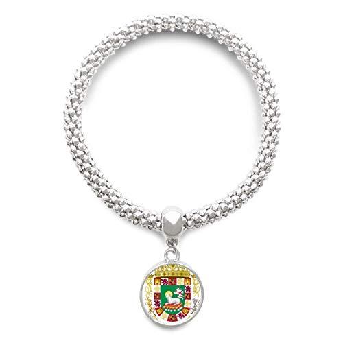 DIYthinker Damen Puerto Rico National Emblem Sliver Armband Laufende Anhänger Schmuck-Kette