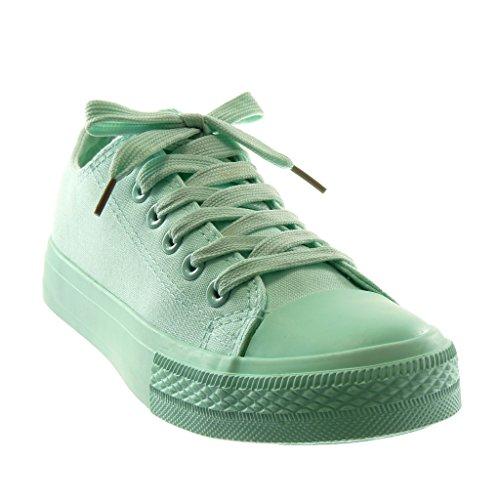 Angkorly Scarpe Da Donna Sneaker - Tennis - Tacco Piatto Color Verde 1,5 Cm