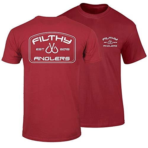 Filthy Anglers Herren Damen Active Fishing T-Shirt Bendo Logo - mehrere Farben, Herren, Scharlachrot, XX-Large -