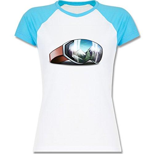 Wintersport - Skibrille - zweifarbiges Baseballshirt / Raglan T-Shirt für Damen Weiß/Türkis