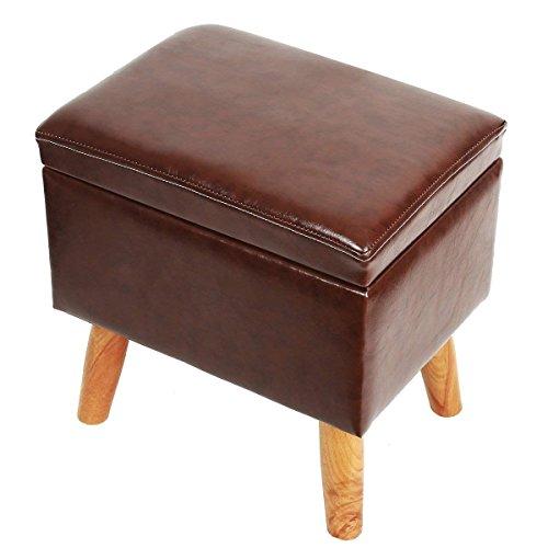 Eshow Sitzhocker Fußhocker Auflagenbox Belüfteter Stauraum 13L Belastbar Deckel Max. Belastbarkeit: 300 kg Wohnzimmer Polster inkl. 4 Holzfüße Sitztruhe 39 x 28 x 39 cm