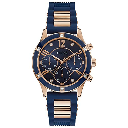 GUESS Chronograph Rose Gold Tone/Blue Case Blue Dial Silicone Women's Watch