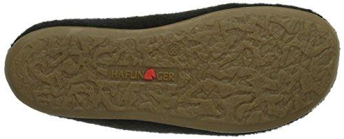 Haflinger Classic Unisex-Erwachsene Flache Hausschuhe Schwarz (Schwarz 03)