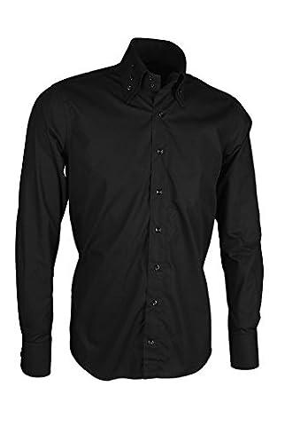 Giorgio Capone Premium Design Herrenhemd, 100% Baumwolle, schwarz, Langarm, Slim & Regular Fit (XL Reg mit (Easy Care Leinenhemd)