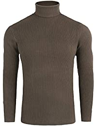 11bca723c08b FISOUL Homme Pulls Coton Chandails Col Roulé Uni Sweater Slim Fit Manches  Longues Casual