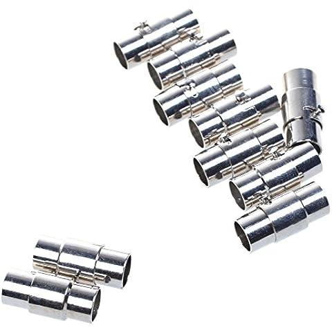 Bcp 10sets chapado en platino cuerda de cuero End Cap/Cierre magnético con mecanismo de bloqueo