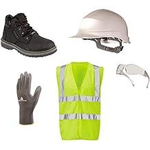 PPE safety kit, boots, helmet, hi vis vest, specs, gloves