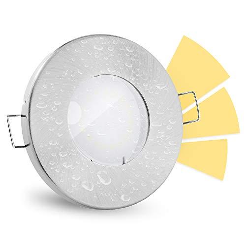 linovum® fourSTEP Einbaustrahler LED Bad flach dimmen ohne Dimmer - LED GU10 5W warmweiß 230V - Einbauspot IP65 rund gebürstet