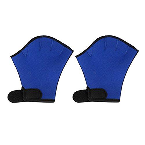 Lanlan Sphere gewebter Schwimmen Handschuhe Tauchen Finger Fin Surfen Schwimmen Sport Paddel Training Fingerlose Handschuhe S blau