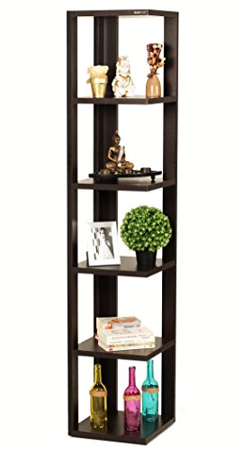 Bluewud Albert Floor Standing Corner Wall Shelf / Display Rack (Wenge, 6 Shelves) S-AE-W6