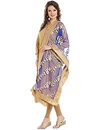 Dupatta Bazaar Women's Blue Designer Net Dupatta With Gold Gotta Work Design .