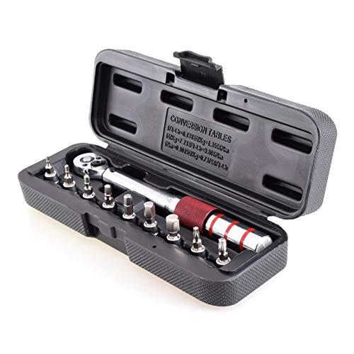 Einstellbarer Schraubenschlüssel Multifunktions-Hot 1/4 Zoll Dr 2-15Nm Mini Adjustable Rennrad Carbon Hand-Fahrrad-Werkzeugsatz mit Pro Preset Drehmomentschlüssel Hex Bit Set