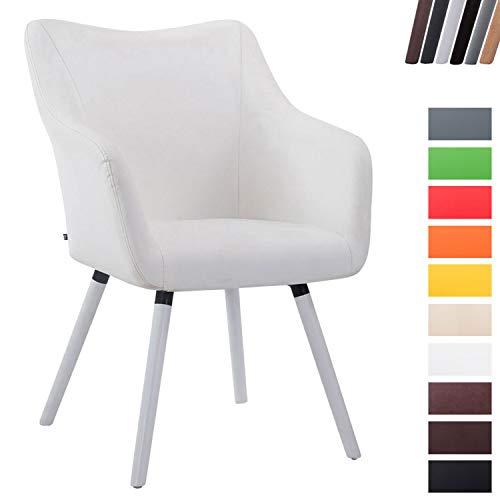 CLP Silla de Salón Mccoy V2 en Cuero Sintético I Silla Comedor Acolchada I Silla de Visita con Reposabrazos I Color: Blanco, Blanco (Roble)