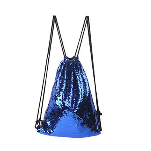 Meerjungfrau Kordelzug Rucksack Pailletten Glitter Schultertasche für Frauen Mädchen (blau) -