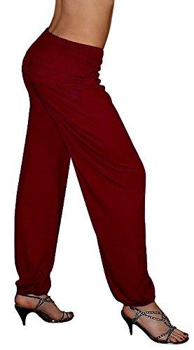 S&LU tolle Damen Haremshose, Pluderhose in 4 Größen von XXS bis XXXXXXL (6XL) wählbar bordeaux-rot Einheitsgröße S-XXL