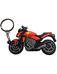 Techpro Soft Rubber Keychain Double Sided With Red Honda Bike Design