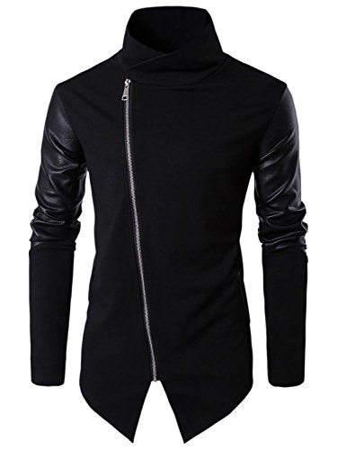 Clocolor sweater slim sweat-shirts uomo collo alto manica lunga in pelle pu abbigliamento basic zip pullover cotone noir xl