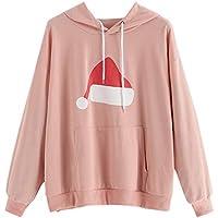 HWTOP Frauen Langarm Sweatshirt Weihnachten Hut gedruckt Hoodie Casual Tops Bluse