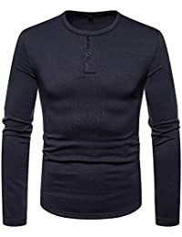 BUSIM Men's Long Sleeved Shirt Solid Color Henry Collar Casual Autumn Winter Fashion Slim T-Shirt Top Comfortable...