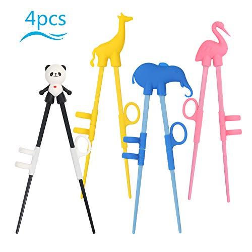 cantidad: 4 par material: silicona cuatro dibujo: flamenco(rojo), elefante(azul), caballo(amarillo), panda(negro) Atención: Segura lo que los niños usan los palillos practicos debajo de la guía de adultos para evitar los asuntos peligrosos. Despu...