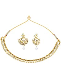 Dancing Girl Bridal Dulhan White Metal Alloy Necklace Earring Set Jewellery Sets For Women