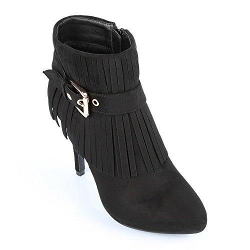 Ideal Shoes-Stiefel mit Fransen, Nadjet weicher Haptik Schwarz - Schwarz