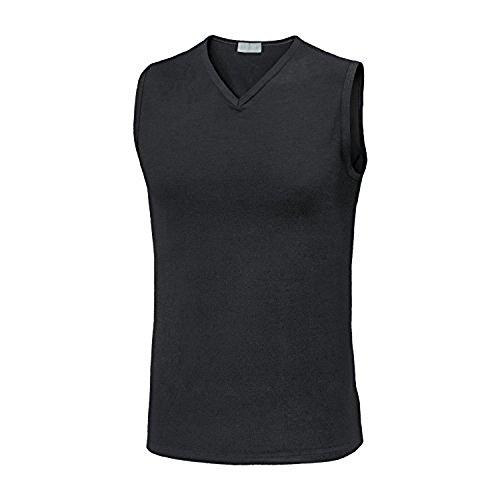 3 smanicato spalla larga uomo scollo a punta cotone elasticizzato LIABEL 03858/253 (4/M, nero)