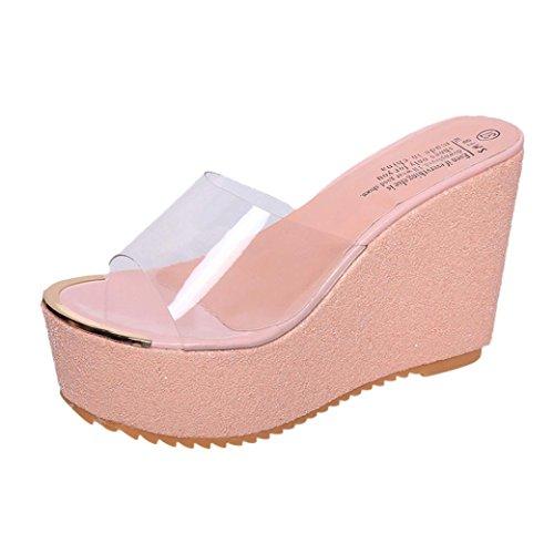 Gold Glitter Platform Sandal (Damen Flip Flops, Xinan Sommer Mode High Heels Hoch Absatz Keilabsatz Slipper Frauen Casual Elegant Outdoor Innen Hausschuhe Flip Flops Strandschuhe Badeschuhe Zehentrenner Schuhe (EU: 36, Pink C))