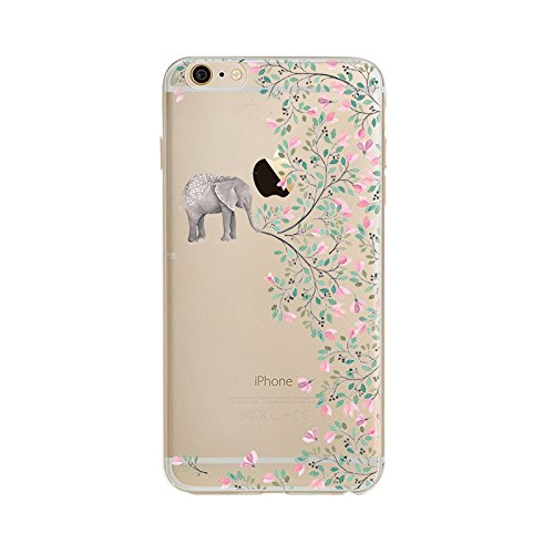 iPhone 6S Case Clear, UCMDA Ultra Slim Soft TPU Silicone Back Rubber Bumper Protector Cover Case for iPhone 6/6S-Elephant Flowers